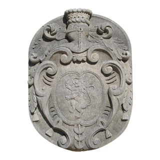 Carved Limestone Coat of Arms Plaque From Italy For Sale