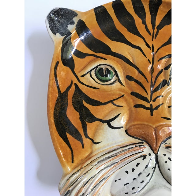 Mid 20th Century Mid Century Italian Hand Painted Striped Tiger Platter For Sale - Image 5 of 13