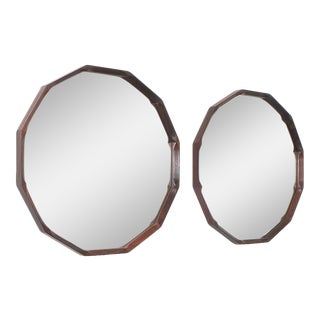 Pair of Dino Cavalli Walnut Mirrors, Midcentury, Italy For Sale