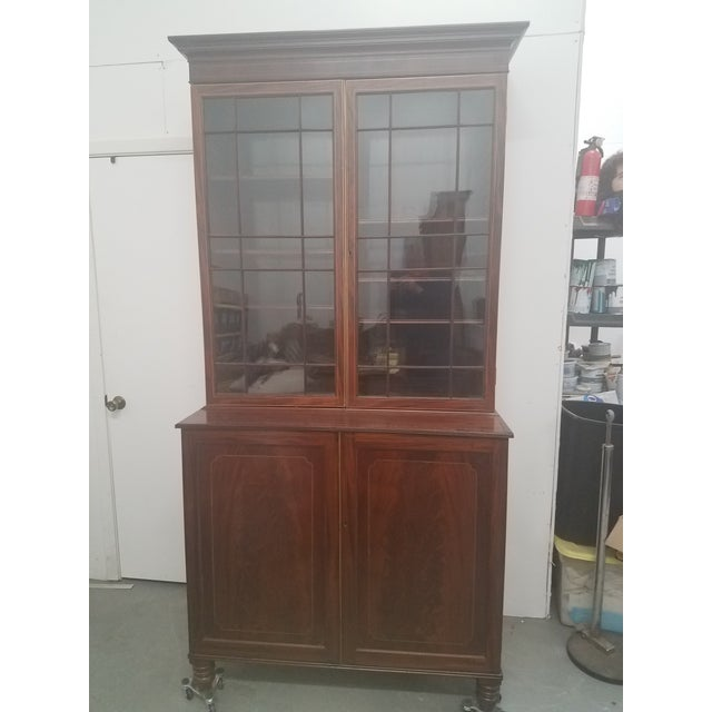 Antique English Bookcase Cupboard - Mahogany With Marquetry For Sale - Image 13 of 13