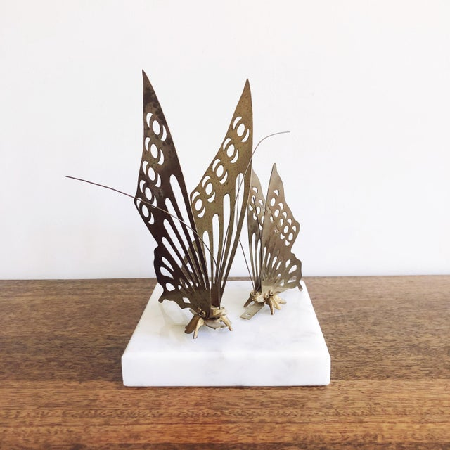 1960s Vintage Brass Butterfly Wall Mounts - a Pair For Sale - Image 5 of 6