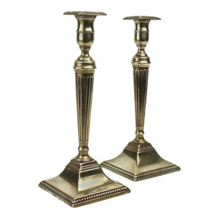 English 18th Century Georgian Fluted and Tapered Brass Candlesticks - A Pair For Sale