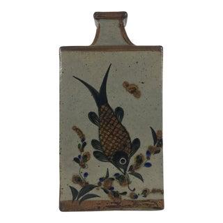 1970's Vintage Japanese Mashiko Rectangular Pottery Vase For Sale