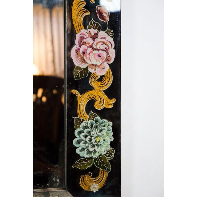 Late 19th Century Late 19th Century Antique Venetian Reverse Hand Painted Floral Wall Mirror For Sale - Image 5 of 13