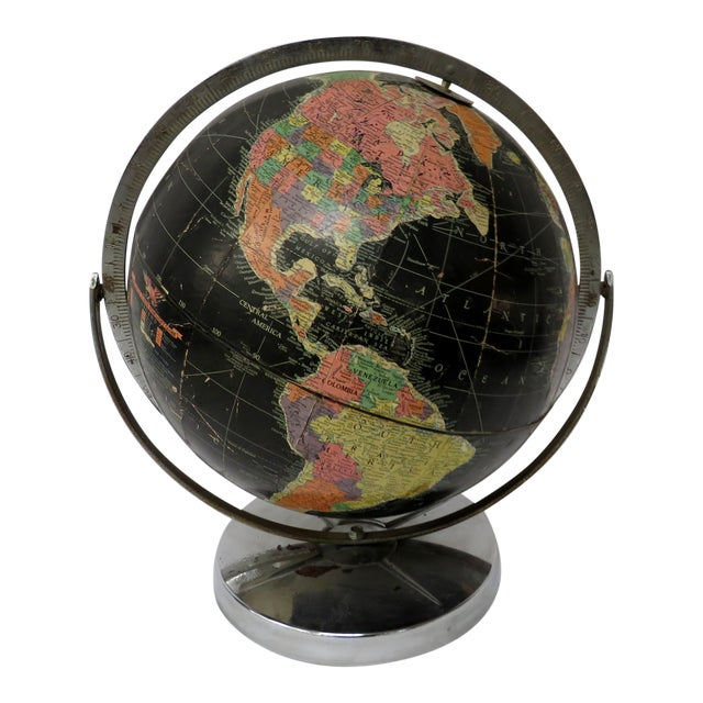 """Replogle 12"""" Black Globe on Chrome Stand 1940s or 50s For Sale"""