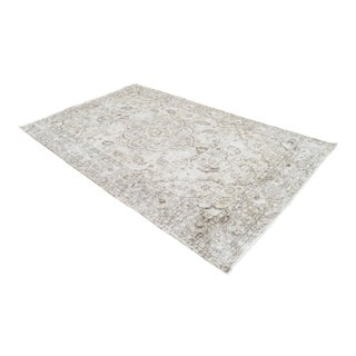 Moon Mist Overdyed Turkish Hand Knotted Rug Oushak Area Rug- 6′ X 9′10″ For Sale