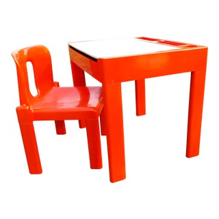 1960s Vintage Italian Children's' Desk and Chair For Sale
