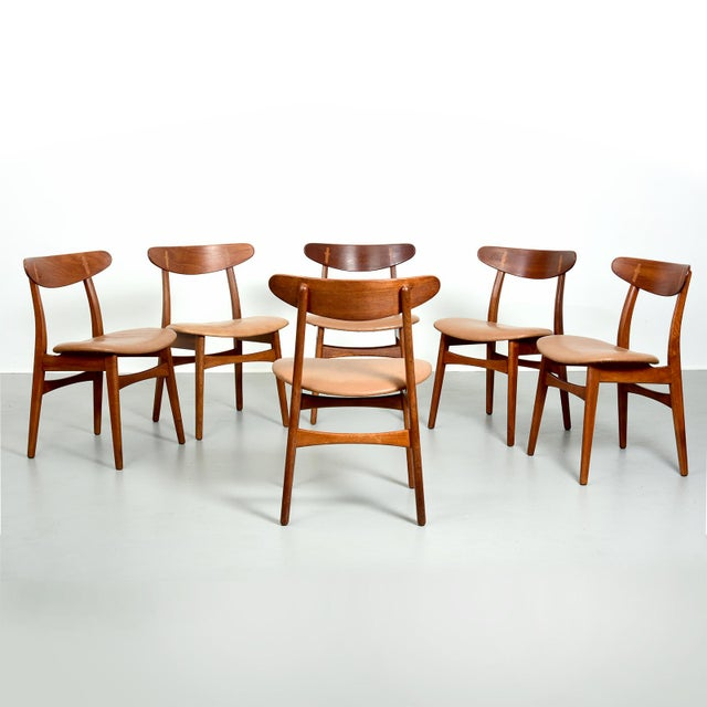 Hans Wegner Dining Set, Model At-304 Dining Table and Model Ch-30 Dining Chairs For Sale - Image 9 of 10