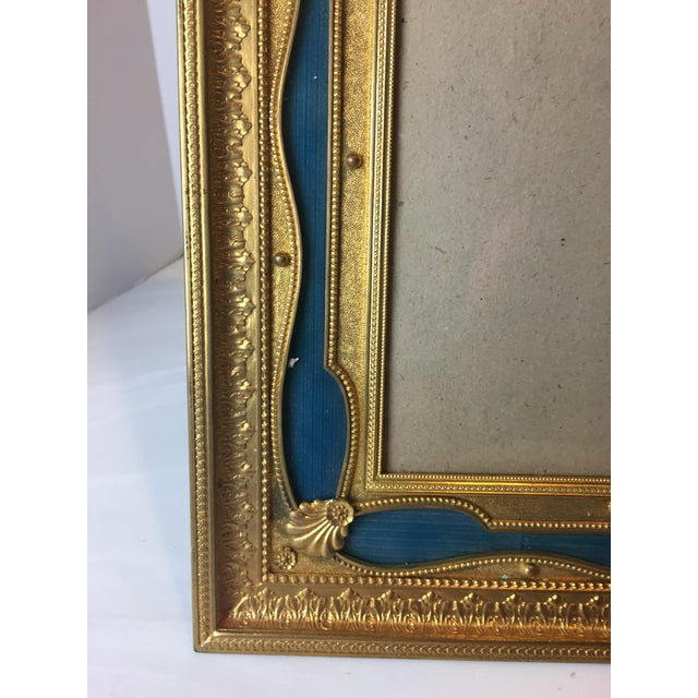 Antique French Gilt Bronze Ormolu & Green Guilloche Enamel Picture Frame For Sale - Image 4 of 11