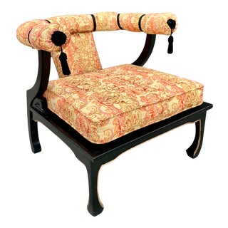 Black Lacquer Chinese Ming James Mont Style Silk Upholstered Chair For Sale