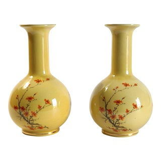 Vintage Yellow Vases - a Pair For Sale