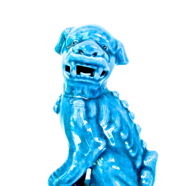Turquoise Foo Dogs - A Pair - Image 4 of 10