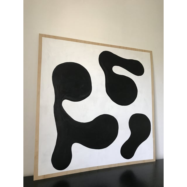 Hannah Polskin original 2018 black and white abstract acrylic painting on plywood. Geometric motif with monochrome color...