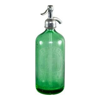 Vintage Green Puritan Beverage Co Orange Nj Seltzer Bottle For Sale