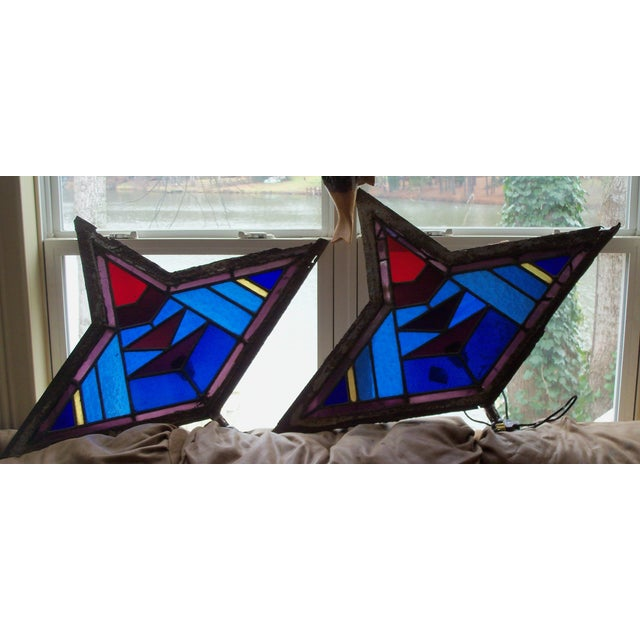 Antique Leaded Art Glass Window Sconces - A Pair - Image 4 of 10