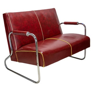 Early 50's Vinyl Settee For Sale