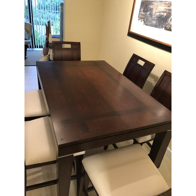 Coastal Contemporary Espresso Finished Counter-Height Dining Set From Ethan Allen - Extension Table With 6 Upholstered Chairs - 8 Pieces For Sale - Image 3 of 12