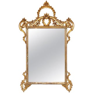 Italian Rococo Style Gilt Carved Wall or Console Mirror