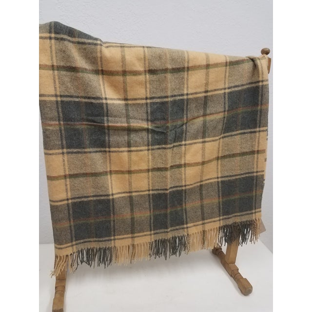English Merino Wool Throw Light Soft Beige Grey Green Red Plaid - Made in England For Sale - Image 3 of 13