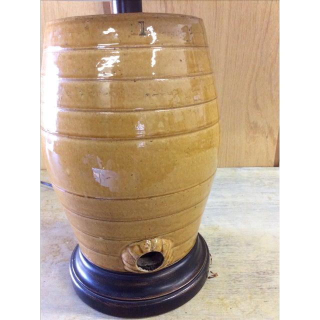 English Glazed Pottery Cask Lamp - Image 3 of 5