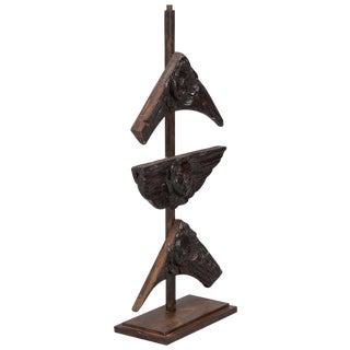 19th Century Carved Wood Angel Faces on Iron Stand- S/3 For Sale