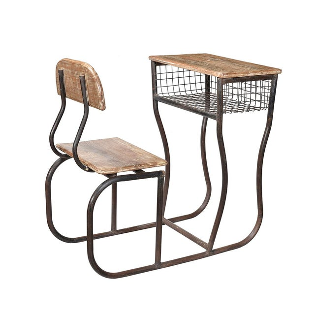 Create a unique display with this vintage wood and iron school desk. The wood has a gentle white wash finish and the aged...