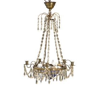 Gustavian Chandelier 1900's With Blue Bowl For Sale