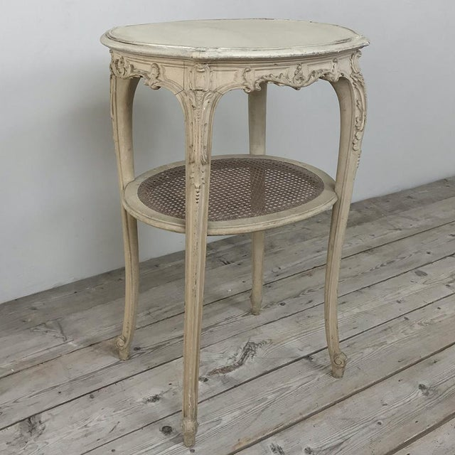 19th Century French Louis XVI Painted Oval End Table For Sale - Image 4 of 13