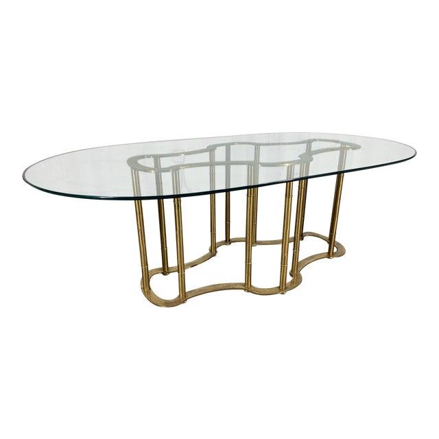 Mastercraft Racetrack Brass Pedestal Dining Table For Sale