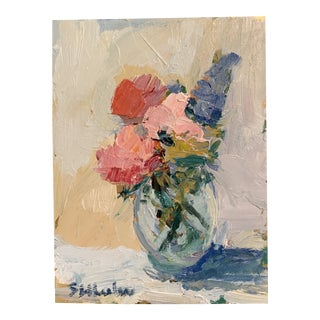 Contemporary Miniature Floral Still Life Painting by Stephanie Wheeler For Sale