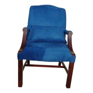 Vintage Chippendale Blue Suede Armchair For Sale