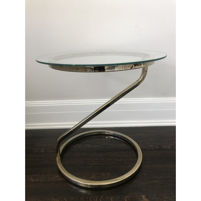 Gold 1970s Mid Century Modern Glass and Gold Side Table For Sale - Image 8 of 8