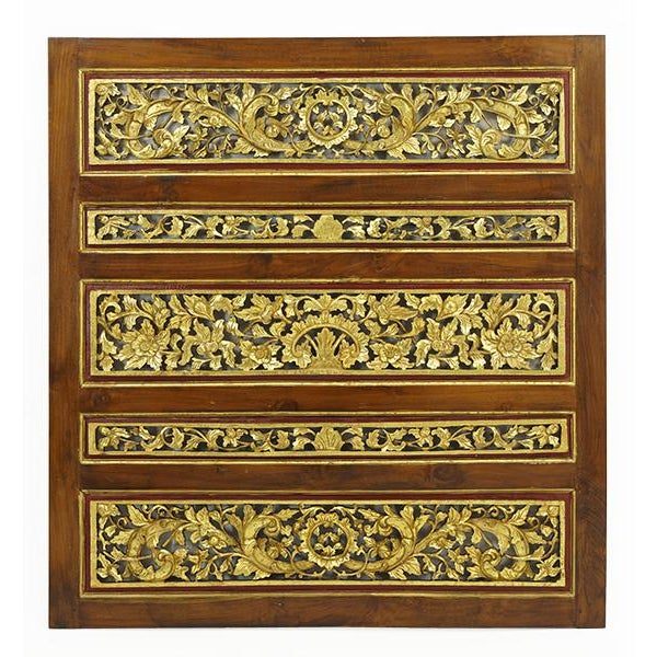 Metal 1920s Vintage Chinese Carved Giltwood Screen For Sale - Image 7 of 7