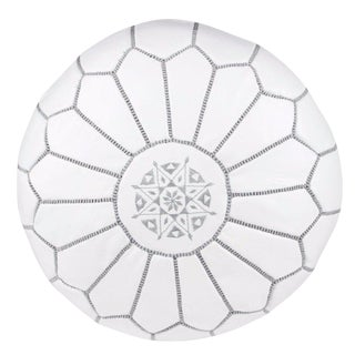 Embroidered Leather Pouf, Gray on White For Sale