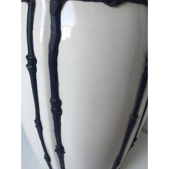 Navy Blue & White Icing Bamboo Lamp For Sale - Image 5 of 5