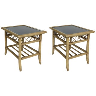 Vintage Rattan and Laminate Side Tables -A Pair For Sale