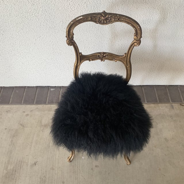 Fur 1920s Vintage Gilded Chair For Sale - Image 7 of 13