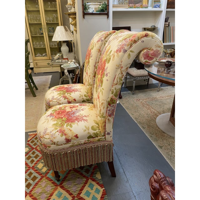 1990s Vintage Floral Parsons Chairs - a Pair For Sale - Image 5 of 6