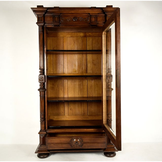 French Antique French Single Door Walnut Bookcase For Sale - Image 3 of 9