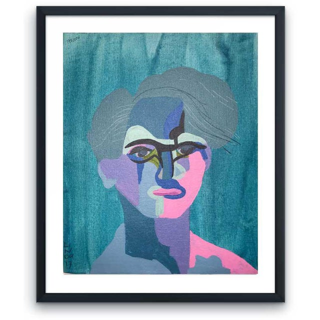 "Contemporary Abstract Portrait Painting ""This Much He Knows"" - Framed For Sale - Image 11 of 11"