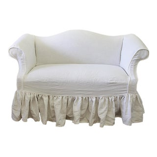 Vintage Mid Century Custom Linen Slip Covered Petite Sofa For Sale