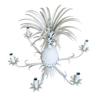 1960s Vintage White Tole Pineapple Chandelier For Sale