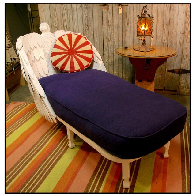 I found this Chaise in Maine. We had the cushion made and covered in an old indigo dyed quilt. I have yet to see another...