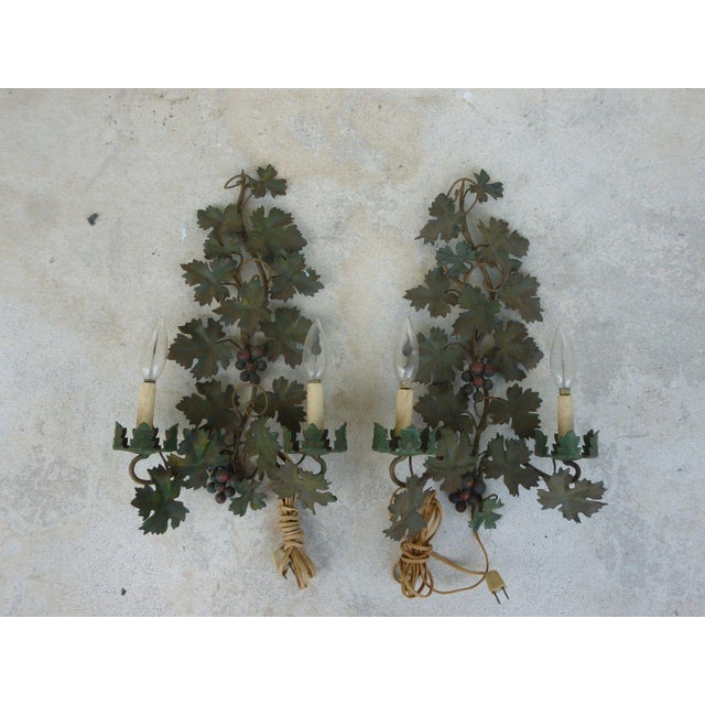 Green Mid Century Italian Tole Sconces of Grapes and Vines - a Pair For Sale - Image 8 of 8