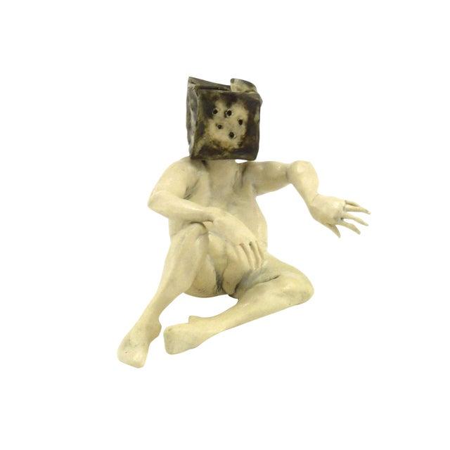 1990s Aggie Zed Contemporary Ceramic Figural Sculpture of Boxman For Sale