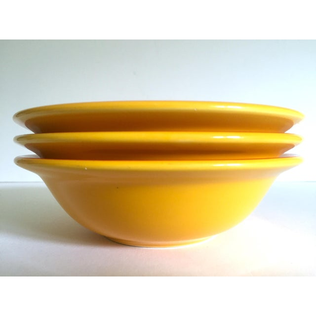 """ Banania "" Jars France Editions Clouet Rare Vintage Yellow Ceramic Bowls - Set of 3 For Sale - Image 10 of 13"