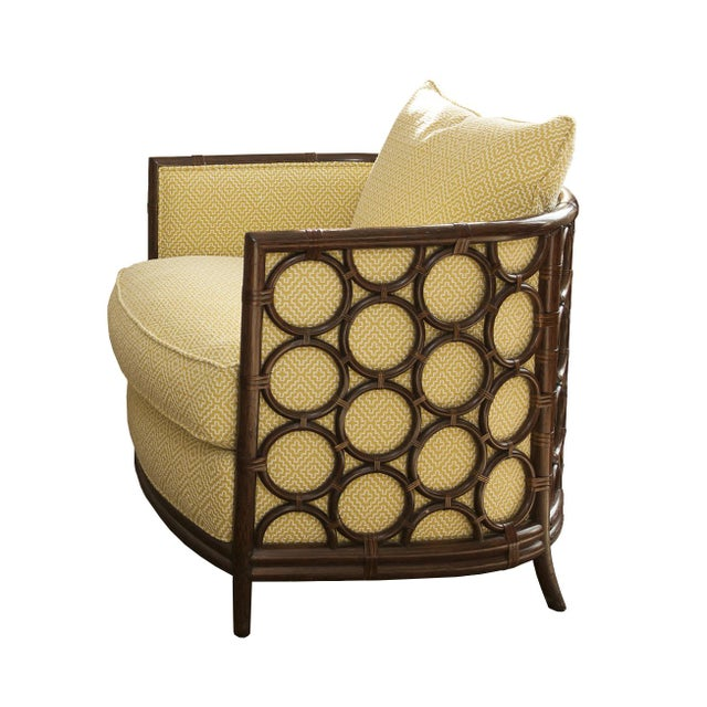 Designer Rattan Circle Motif Club Chair - Image 1 of 3