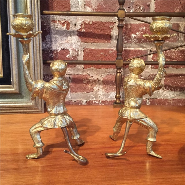 Pair of Gilt Bronze Monkey Candlesticks - Image 5 of 8