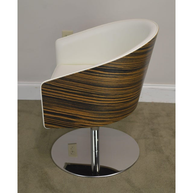 Wood White Leather & Zebra Wood Barrel Back Pair Chrome Pedestal Swivel Lounge Chairs by Cape (B) For Sale - Image 7 of 13