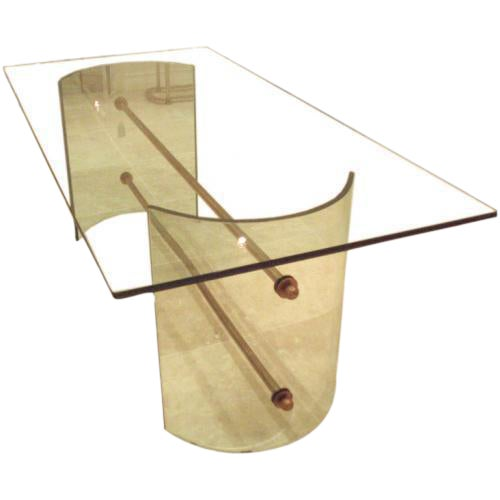 Pietro Chiesa for Fontana Arte Rare All Crystal Dining Table For Sale